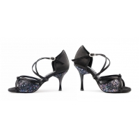 Portdance PD801 Pro zwart satijn en glitter dansschoenen dames