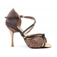 Portdance pd801 pro satijn bruine dansschoenen glitters